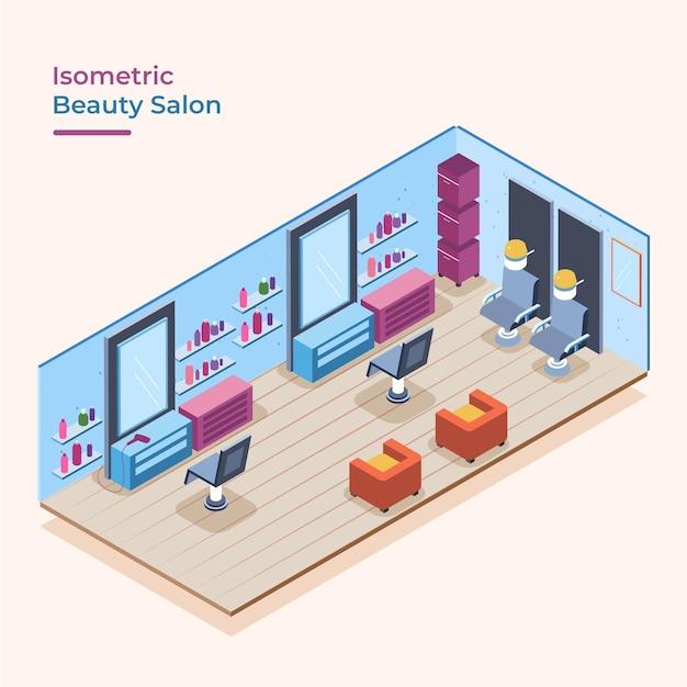 Izometryczny Salon Piękności Darmowych Wektorów