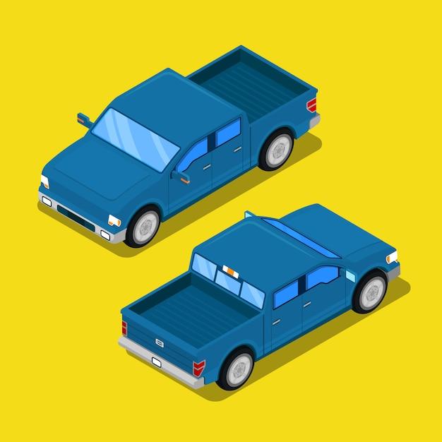 Izometryczny Samochód Terenowy Typu Pick-up W Stylu Retro. Premium Wektorów