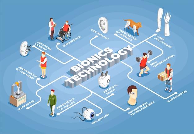 Izometryczny Schemat Blokowy Technologii Bionics Darmowych Wektorów