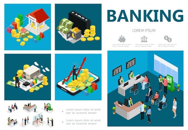 Izometryczny Skład Banku Z Budową Kasetki Na Monety Bezpieczne Inwestycje W Bankowości Internetowej Klienci Recepcjoniści Kasjerzy Menedżerowie Konsultanci Darmowych Wektorów
