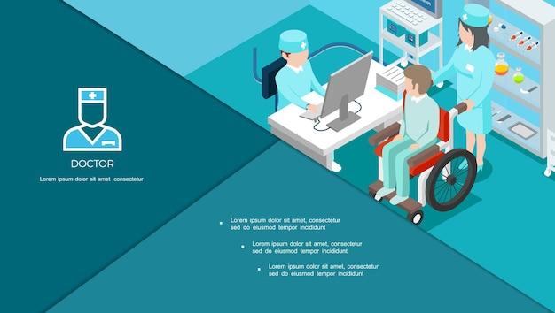 Izometryczny Skład Centrum Medycznego Z Lekarzem Konsultującym Pacjenta Na Wózku Inwalidzkim I Lekarstwach Na Ilustracji Półek Darmowych Wektorów