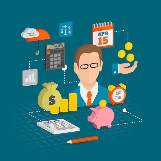 Izometryczny skład elementów podatkowych Darmowych Wektorów