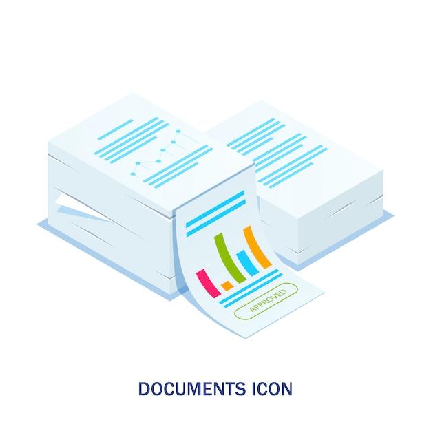Izometryczny Stos Dokumentów Z Zatwierdzoną Pieczęcią Premium Wektorów