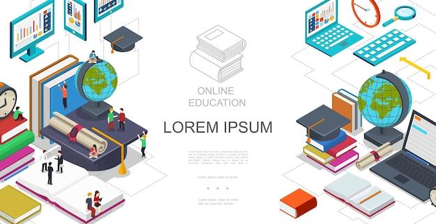 Izometryczny Szablon Edukacji Online Ze Studentami Siedzącymi I Stojącymi Na Książkach Glob Laptop Tablet Lupa świadectwo Ukończenia Szkoły Ilustracja Darmowych Wektorów