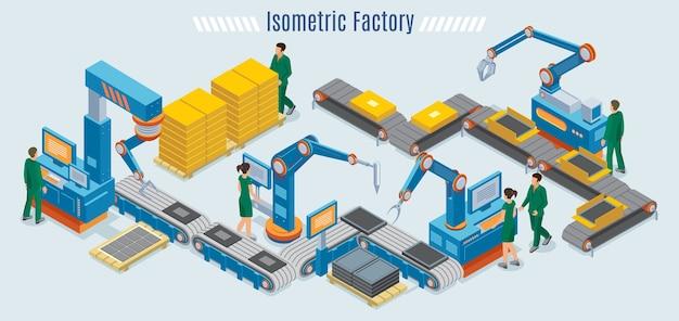 Izometryczny Szablon Fabryki Przemysłowej Z Zautomatyzowanymi Ramionami Robotów Linii Montażowej I Pracownikami Monitorującymi Taśmę Przenośnika Na Białym Tle Darmowych Wektorów