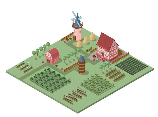 Izometryczny Szablon Krajobrazu Rolniczego Darmowych Wektorów