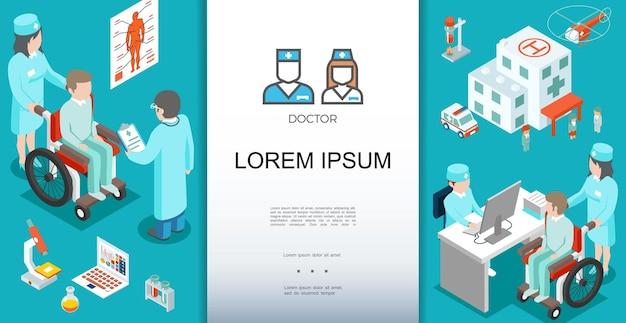 Izometryczny Szablon Opieki Medycznej Z Lekarzem Konsultującym Pacjentów I Ilustracją Elementów Tematycznych Darmowych Wektorów