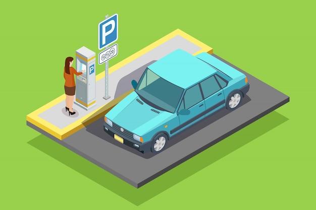 Izometryczny Szablon Parking Darmowych Wektorów