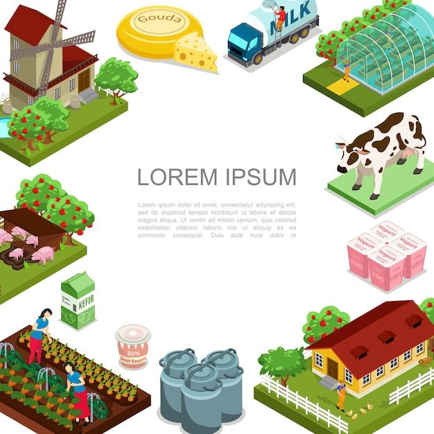 Izometryczny Szablon Rolnictwa I Hodowli Z Wiatrakiem Zwierzęta Produkty Mleczne Dom Jabłonie Ciężarówka Mleka Kobiety Zbierające Warzywa Darmowych Wektorów