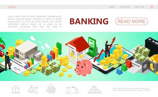 Izometryczny Szablon Strony Internetowej Bankowości Z Biznesmenem Płatności Mobilnych Bankomat Pieniądze Sztabki Monet W Bezpiecznych Kartach Kredytowych Skarbonka Darmowych Wektorów