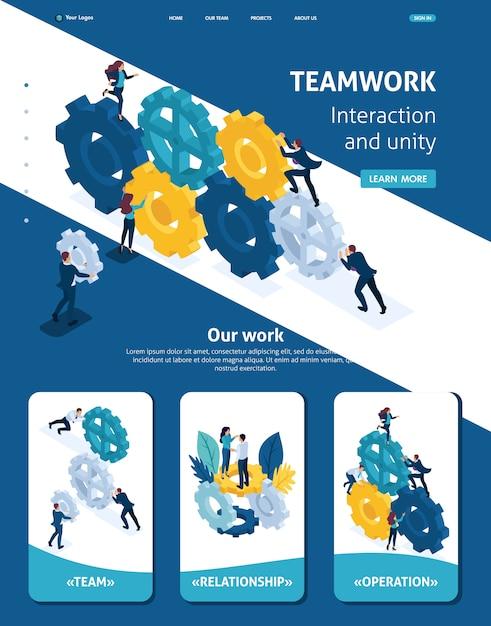 Izometryczny szablon strony internetowej strona docelowa zespołu biznesowego pracuje spójnie. Premium Wektorów