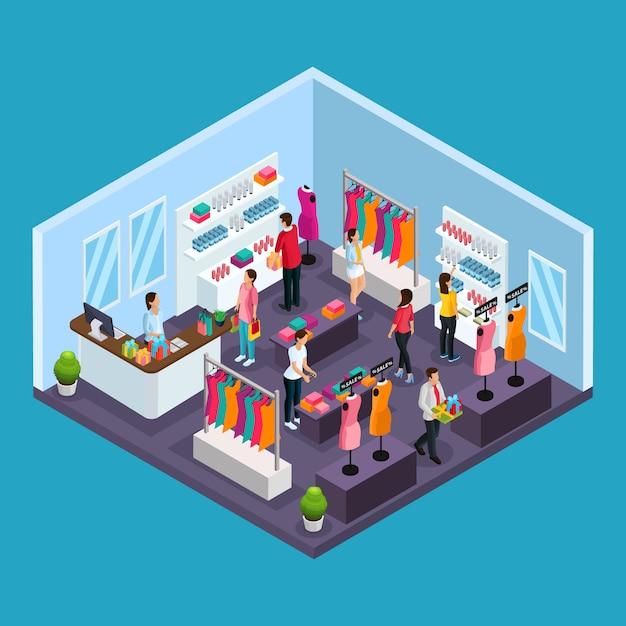 Izometryczny Szablon Zakupów Wakacyjnych Z Ludźmi Kupującymi Ubrania I Kostiumy W Sklepie Odzieżowym Na Białym Tle Darmowych Wektorów