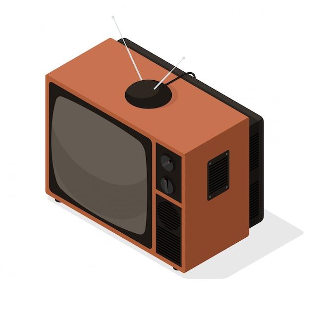 Izometryczny Wektor Ikona Retro Telewizor Z Anteną Na Górze. Stary Styl Izometryczny 3d Tv Ilustracja Na Białym Tle Premium Wektorów