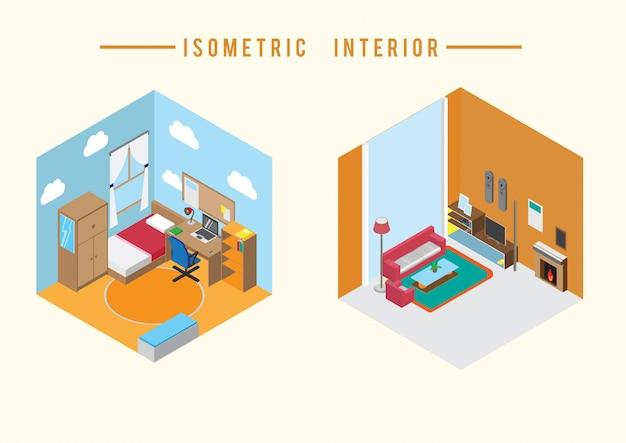 Izometryczny Wektor Wnętrza Premium Wektorów