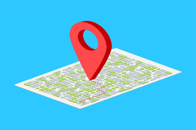 Izometryczny Wskaźnik Mapy Na Niebieskim Tle. Premium Wektorów