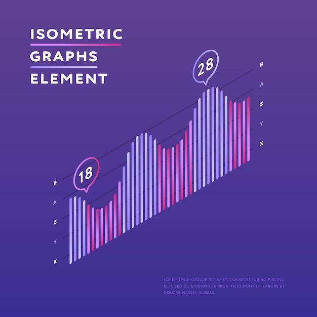 Izometryczny wykres przedstawiający statystyki Premium Wektorów