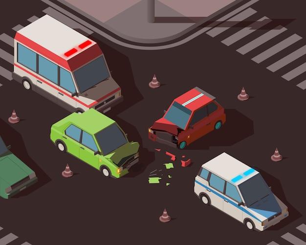 Izometryczny Wypadek Samochodowy Premium Wektorów
