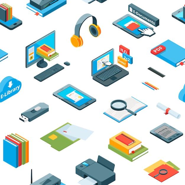Izometryczny wzór edukacji online ikony Premium Wektorów
