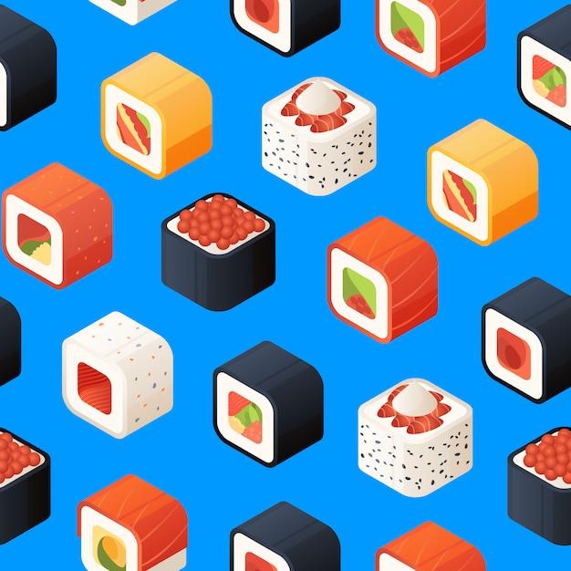 Izometryczny wzór sushi lub ilustracji Premium Wektorów