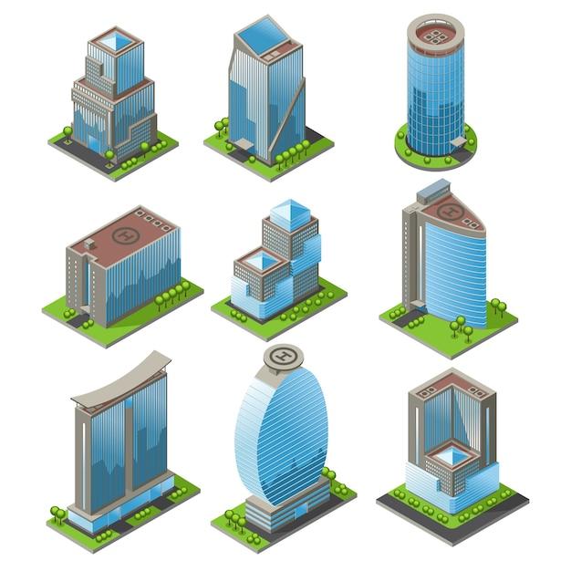 Izometryczny Zestaw Budynków Biurowych Miejskich Darmowych Wektorów