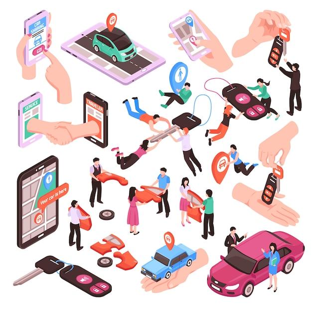 Izometryczny Zestaw Elementów Usługi Współdzielenia Samochodu Darmowych Wektorów