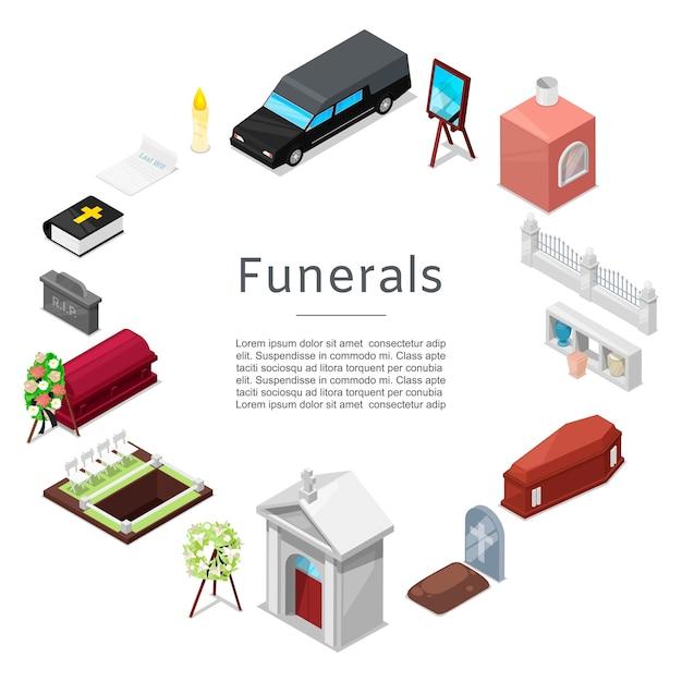 Izometryczny zestaw ikon pogrzeb Premium Wektorów