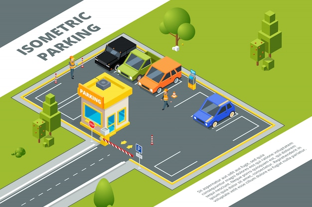 Izometryczny zestaw płatnego parkingu miejskiego z różnymi samochodami Premium Wektorów