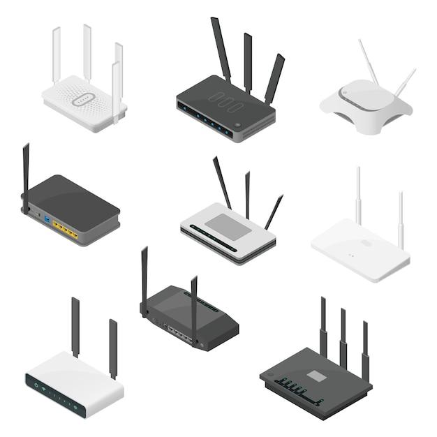 Izometryczny Zestaw Routerów. Izometryczne Realistyczne Ikony Na Białym Tle Premium Wektorów