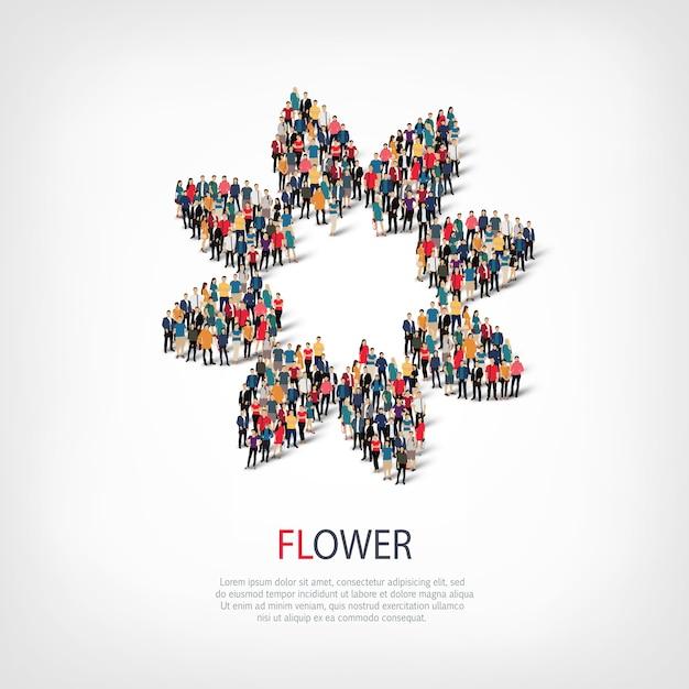 Izometryczny Zestaw Stylów Infografiki Sieci Web Streszczenie Symbol Kwiat Koncepcja Zatłoczonego Placu Premium Wektorów
