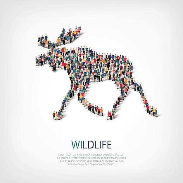 Izometryczny Zestaw Stylów łosie, Dzikie Zwierzęta, Koncepcja Infografiki Internetowej Zatłoczonego Placu Premium Wektorów