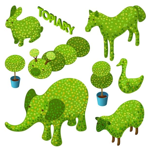 Izometryczny Zestaw Topiary W Postaci Zwierząt. Darmowych Wektorów