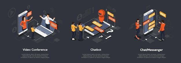 Izometryczny Zestaw Wideokonferencji, Chatbota I Komunikatora. 3d Izometryczny Ilustracja Marketingu Cyfrowego. Premium Wektorów