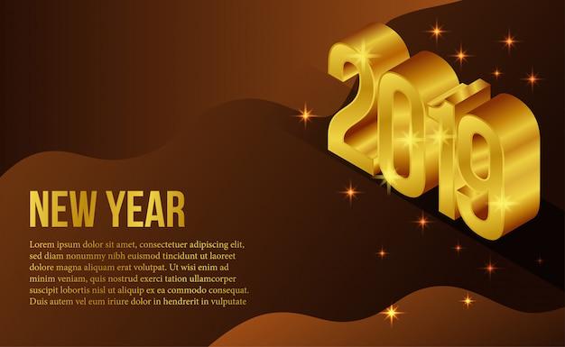 Izometryczny złoty nowy rok szablon transparent Premium Wektorów