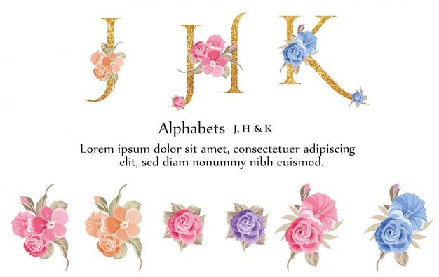 J, K, H, Alfabet Z Kwiatem Premium Wektorów