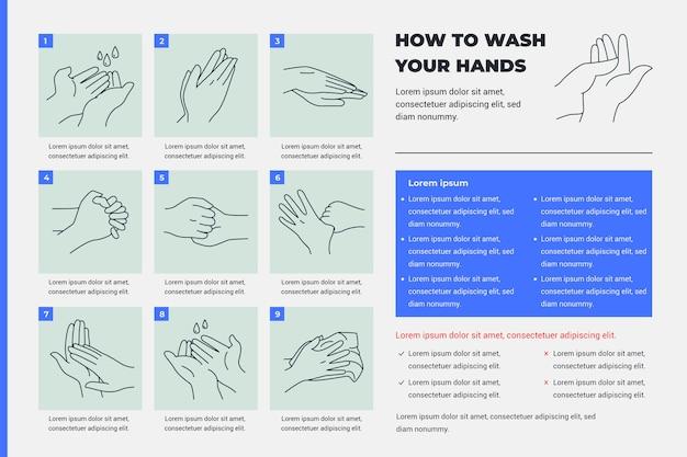 Jak Umyć Ręce Obrazkami I Tekstem Darmowych Wektorów