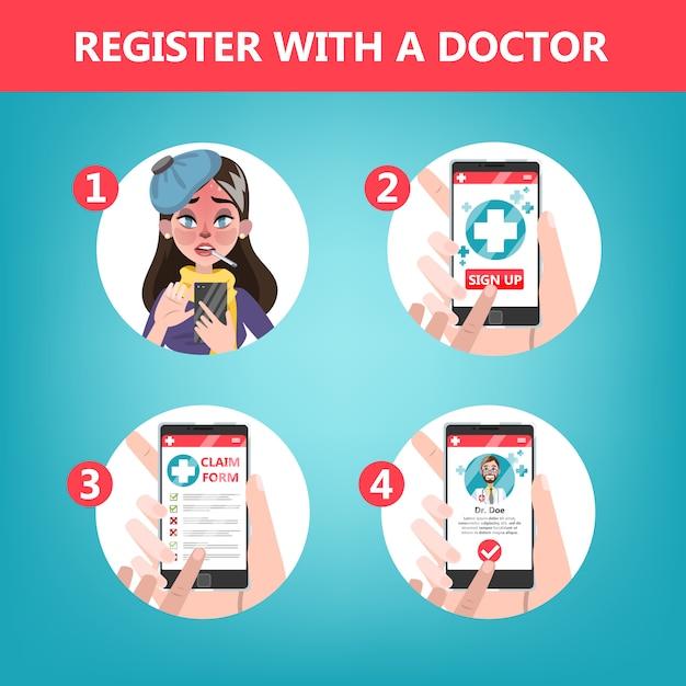 Jak Uzyskać Konsultację Z Lekarzem Za Pomocą Instrukcji Obsługi Telefonu Komórkowego. Premium Wektorów