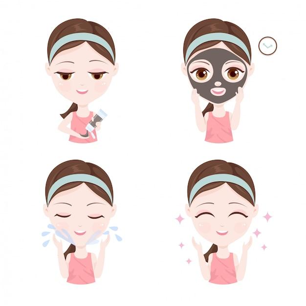Jak używać glinianej maski na twarzy Premium Wektorów