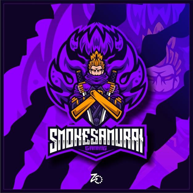 Japan Smoke Samurai Gaming Esports Premium Wektorów