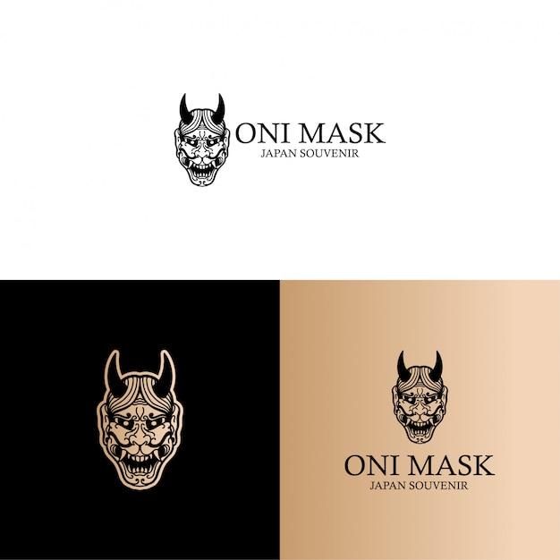 Japonia Kultura Oni Mask Logo Line Art Edytowalny Szablon Premium Wektorów