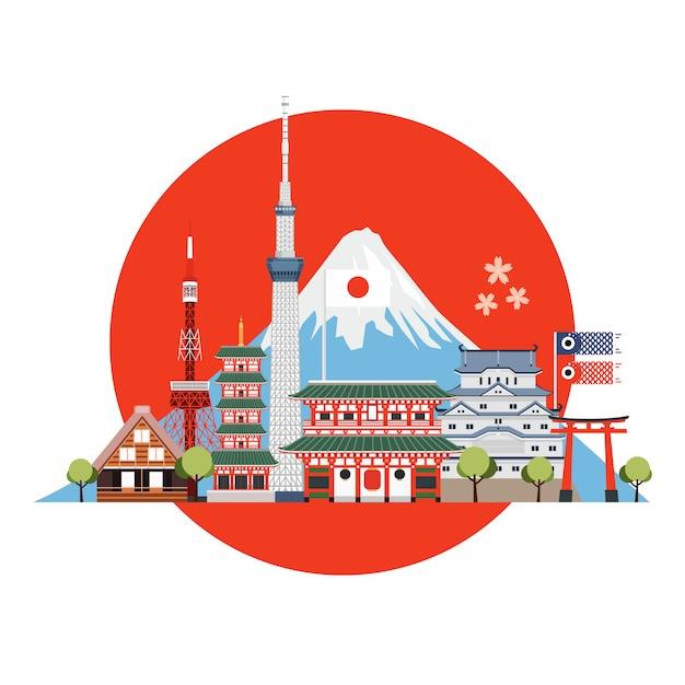 Japonia miejsca podróży i zabytki. pocztówka podróżnicza, reklama wycieczki po japonii. Premium Wektorów