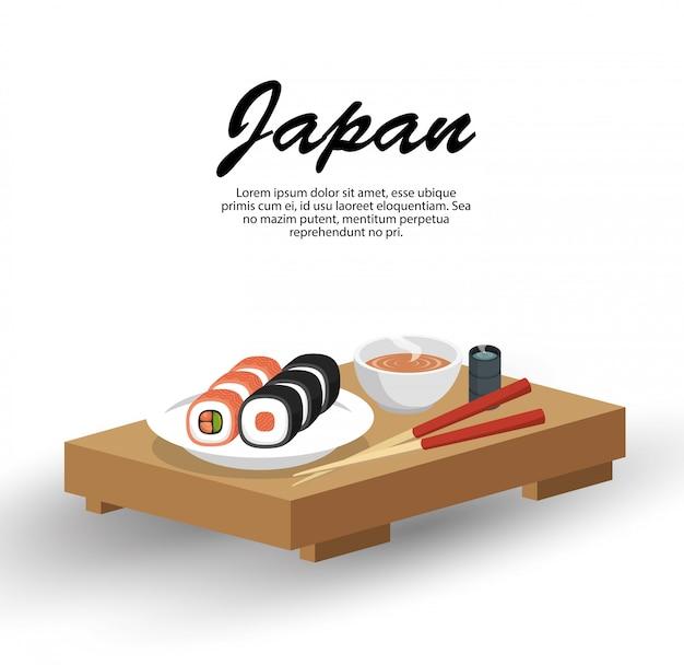 Japonia Podróży Tradycyjne Potrawy Darmowych Wektorów