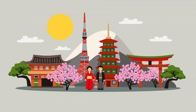 Japonia symbole kompozycja płaski plakat Darmowych Wektorów