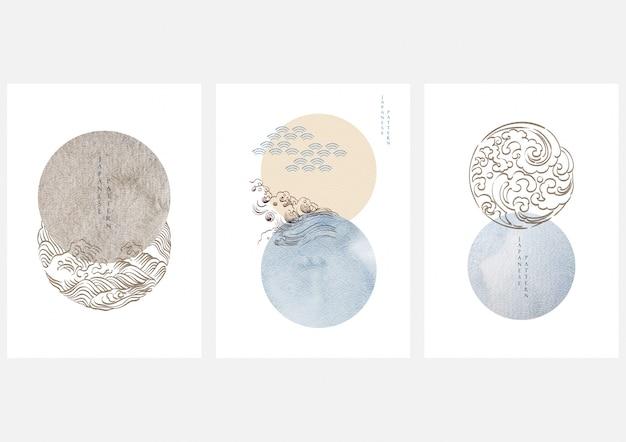 Japońska Grafika Z Geometrycznym Stylem. Japoński Design Z Elementami Fal. Dekoracja Tekstury Akwarela. Premium Wektorów