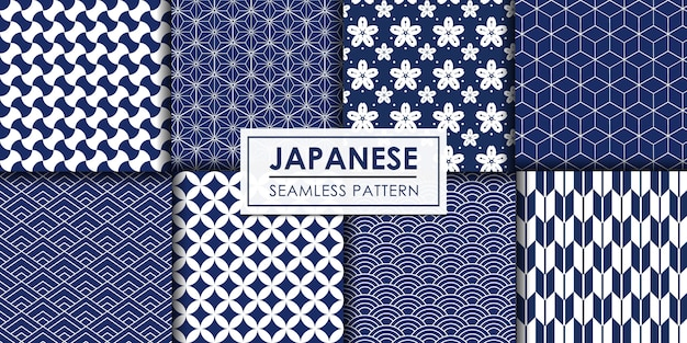 Japońska kolekcja bez szwu, tapeta dekoracyjna. Premium Wektorów