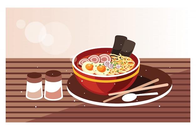 Japońska zupa ramen z kurczakiem, jajkiem i szczypiorkiem Premium Wektorów