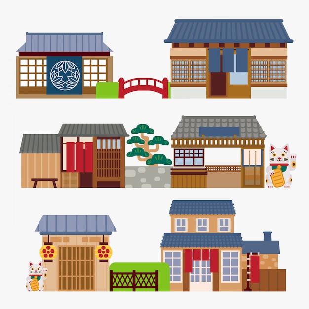 Japoński dom Premium Wektorów