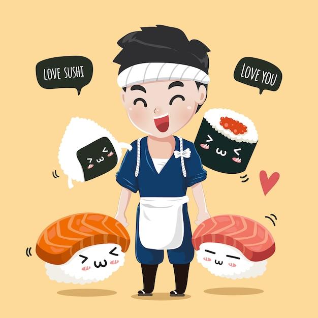 Japoński kucharz ze słodkimi przyjaciółmi z sushi idzie i radośnie łączy ręce, Premium Wektorów