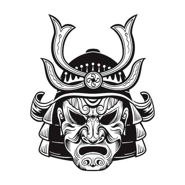 Japoński Ninja W Czarnej Masce. Japonia Tradycyjny Vintage Wojownik Na Białym Tle Ilustracji Wektorowych Darmowych Wektorów