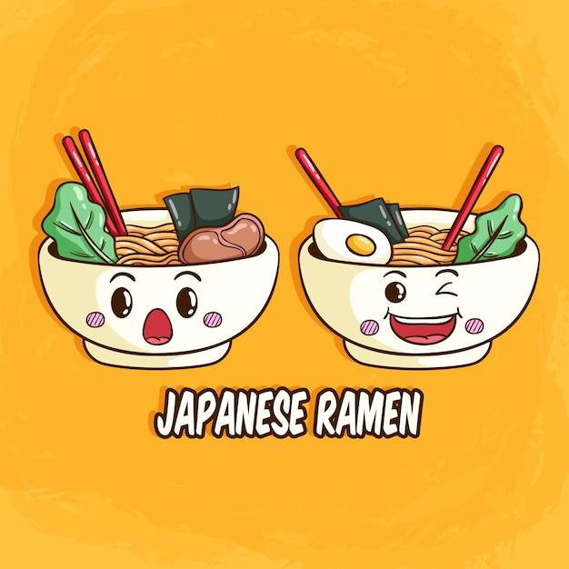 Japoński ramen lub makaron z twarzą i wyrazem kawaii Premium Wektorów