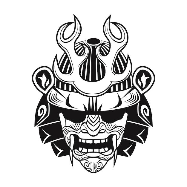 Japoński Samuraj W Czarnej Masce. Płaski Obraz Wojownika Japonii. Vintage Ilustracji Wektorowych Darmowych Wektorów